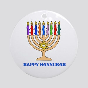 Hannukah Menorah Ornament (Round)