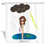 Rainy Day at the Beach Shower Curtain