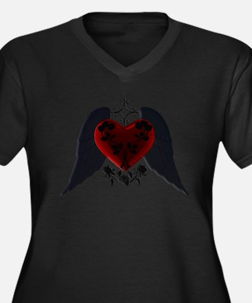 Black Winged Goth Heart Plus Size T-Shirt