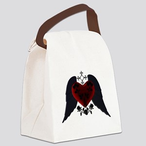 Black Winged Goth Heart Canvas Lunch Bag