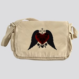 Black Winged Goth Heart Messenger Bag
