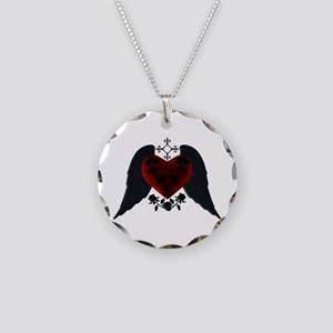 Black Winged Goth Heart Necklace