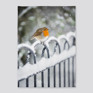 Robin in the Snow 5'x7'Area Rug