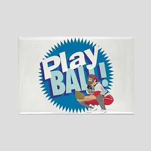 PLAY BALL! Baseball Catcher Rectangle Magnet (10