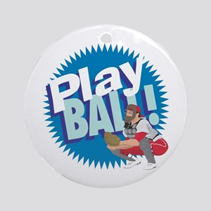 PLAY BALL! Baseball Catcher Ornament (Round)
