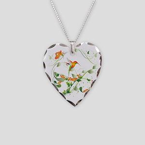Hummingbird Morning Necklace Heart Charm