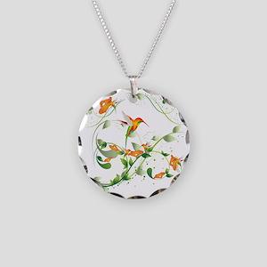 Hummingbird Morning Necklace Circle Charm