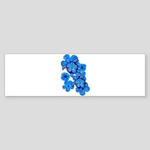 Blue Honu and Hibiscus Sticker (Bumper)