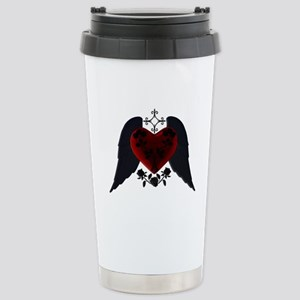 Black Winged Goth Heart Travel Mug