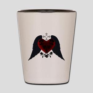 Black Winged Goth Heart Shot Glass