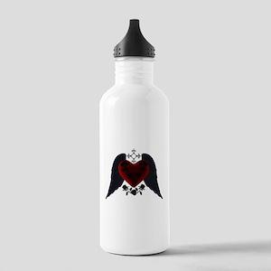 Black Winged Goth Heart Water Bottle