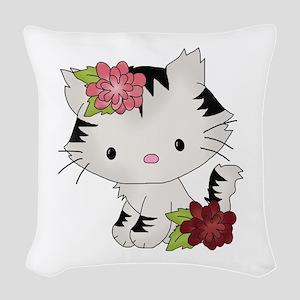 Cat Cuteness Woven Throw Pillow