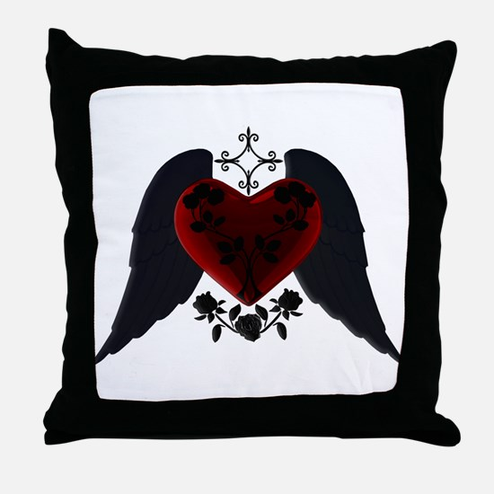 Black Winged Goth Heart Throw Pillow