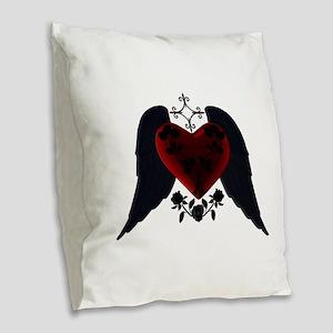 Black Winged Goth Heart Burlap Throw Pillow