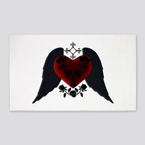 Black Winged Goth Heart 3'x5' Area Rug