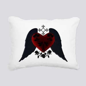 Black Winged Goth Heart Rectangular Canvas Pillow