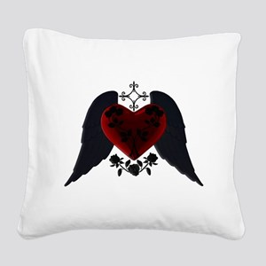 Black Winged Goth Heart Square Canvas Pillow