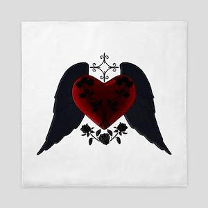Black Winged Goth Heart Queen Duvet