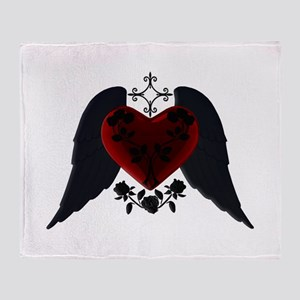 Black Winged Goth Heart Throw Blanket