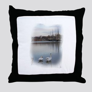Seaport Swans --  Throw Pillow
