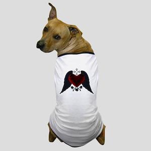 Black Winged Goth Heart Dog T-Shirt