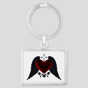 Black Winged Goth Heart Keychains