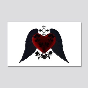 Black Winged Goth Heart Wall Decal
