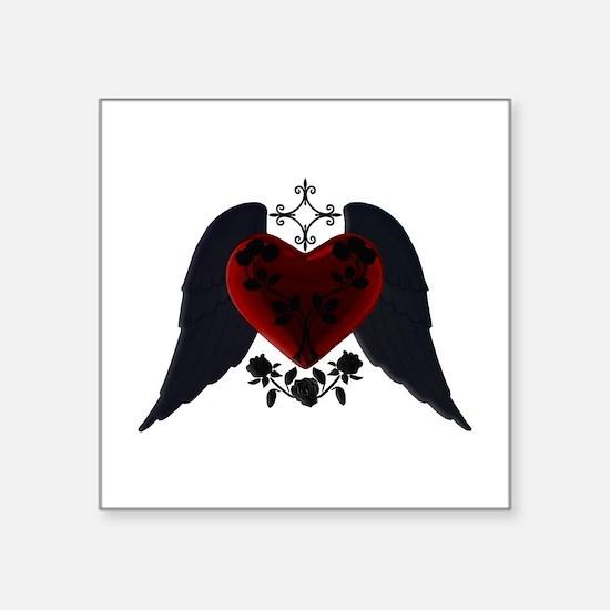 Black Winged Goth Heart Sticker