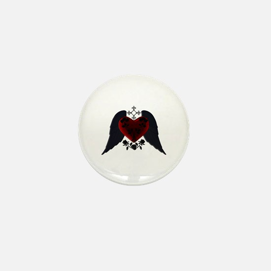 Black Winged Goth Heart Mini Button