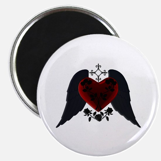 Black Winged Goth Heart Magnet