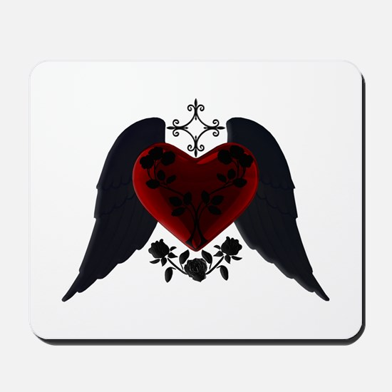 Black Winged Goth Heart Mousepad