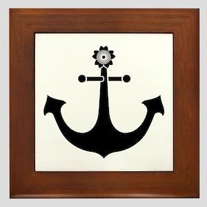 Navy anchor Framed Tile