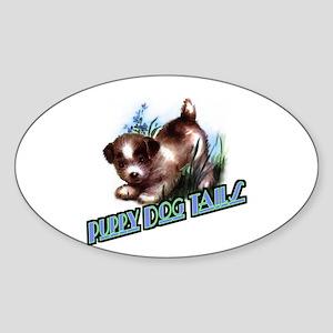 Puppy Dog Tails Oval Sticker