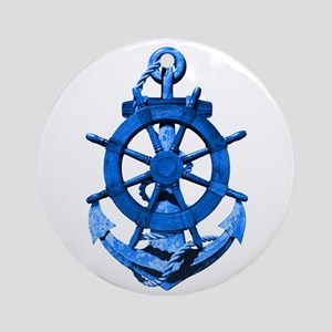 Blue Ship Anchor And Helm Ornament (Round)