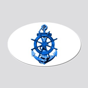 Blue Ship Anchor And Helm Wall Decal