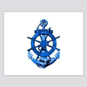 Blue Ship Anchor And Helm Posters