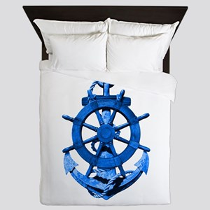 Blue Ship Anchor And Helm Queen Duvet
