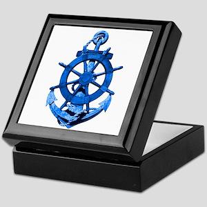 Blue Ship Anchor And Helm Keepsake Box