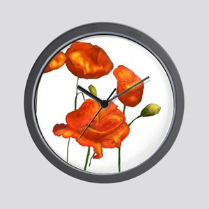 Poppies (orange) Wall Clock