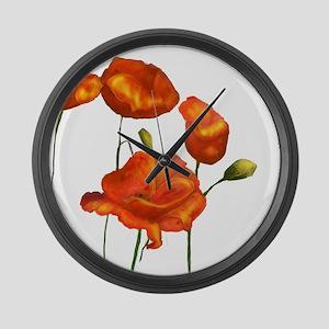 Poppies (orange) Large Wall Clock