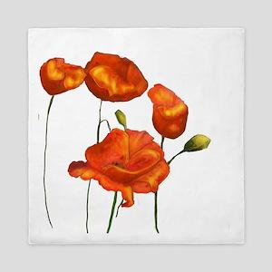Poppies (orange) Queen Duvet