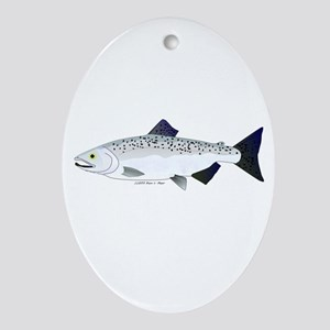 Chinook King Salmon f Ornament (Oval)