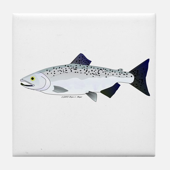 Chinook King Salmon f Tile Coaster