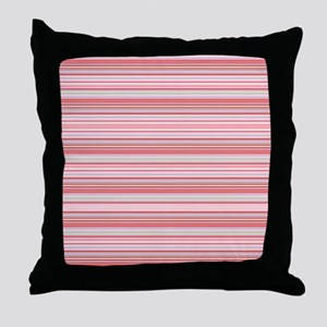 Retro Pink Pinstripes Throw Pillow