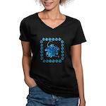 Atom Sea #9 Women's V-Neck Dark T-Shirt