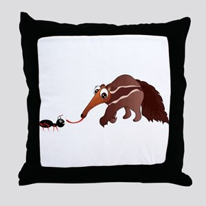 Anteater Meets His Lunch Throw Pillow