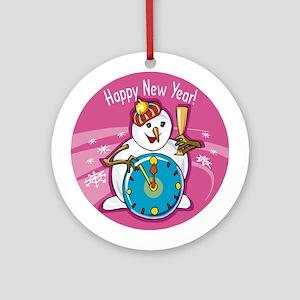 HAPPY NEW YEAR SNOWMAN CLOCK ORNAMENT (Round)