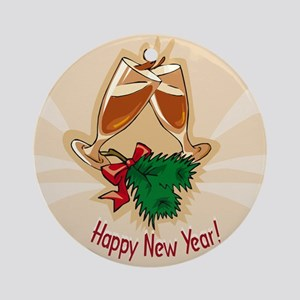 HAPPY NEW YEAR TOAST ORNAMENT Ornament (Round)