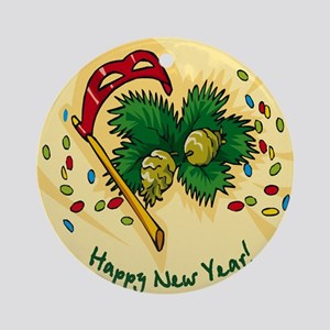 HAPPY NEW YEAR PARTY MASK Ornament (Round)