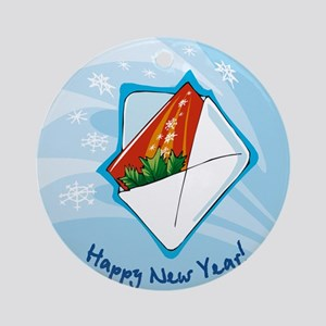 HAPPY NEW YEARS EVE CARD ORNAMENT (Round)